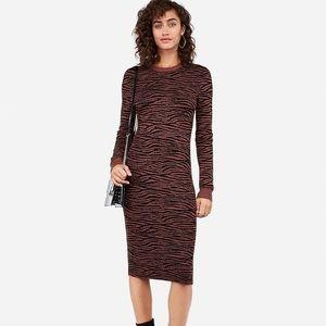 Express Tiger Print Midi Sweater Dress